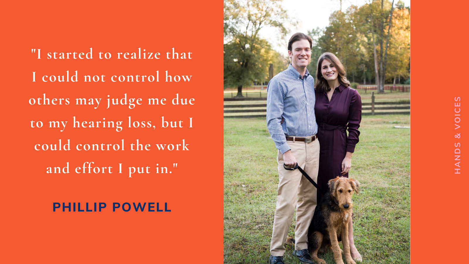 Phillip Powell stands outside with wife and dog